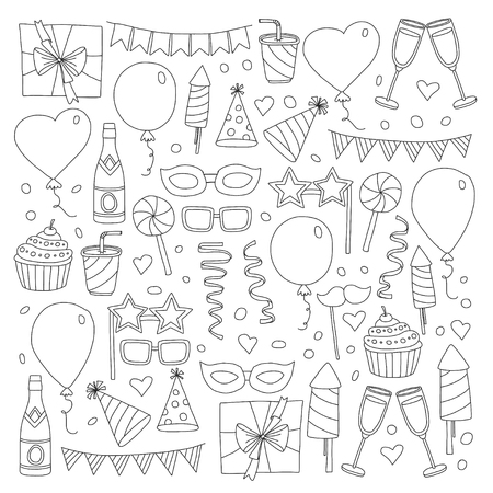 Set of birthday party design elements. Kids drawing. Doodle icons Colorful balloons, flags, confetti, cupcake, gifts, candles, bows and decorative ribbons. Illustration