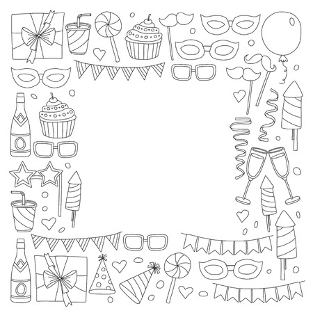 Set of birthday party design elements. Kids drawing. Doodle icons Colorful balloons, flags, confetti, cupcake, gifts, candles, bows and decorative ribbons. Ilustrace