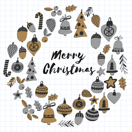 Gold Christmas pattern with christmas bells, snowflakes, candy Holly jolly Merry Christmas and Happy New Year Isolated on checked notepad paper