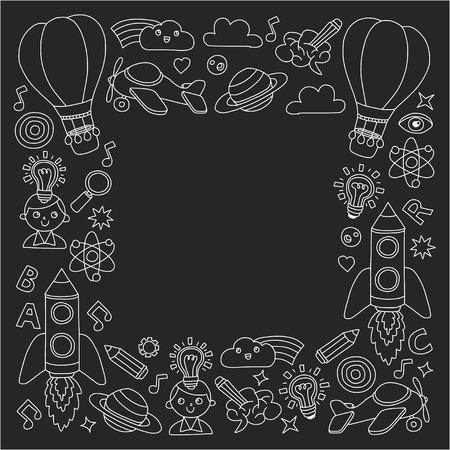 落書きアイコンのベクトルセット黒板チョークの背景-創造性とインスピレーション、アイデアや想像力、革新と発見、ボックスの外側を考える