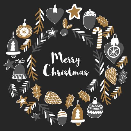 Gouden kerst patronen met kerst bel, sneeuwvlokken, snoep Holly jolly Vrolijk kerst feest en gelukkig Nieuwjaar geïsoleerd op blackboard Krijttekening
