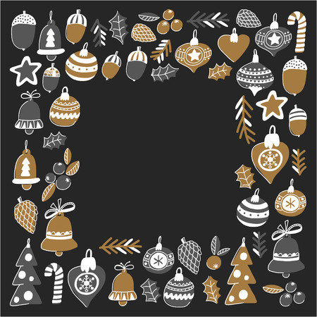 Gold Christmas patterns with christmas bells, snowflakes, candy Holly jolly Merry Christmas and Happy New Year Isolated on blackboard Chalk drawing Stock Vector - 85899598