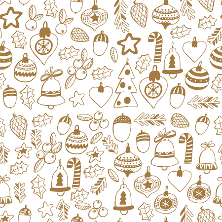 Gold Christmas seamless pattern with christmas bells, snowflakes, candy Holly jolly Merry Christmas and Happy New Year