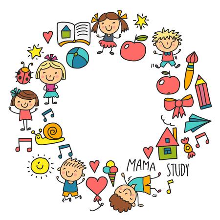 シームレスなパターン。子供たちは幼稚園学校を描いている。幸せな子供たちが遊ぶ。子供の保育園就学前の子供のアイコンのためのイラスト