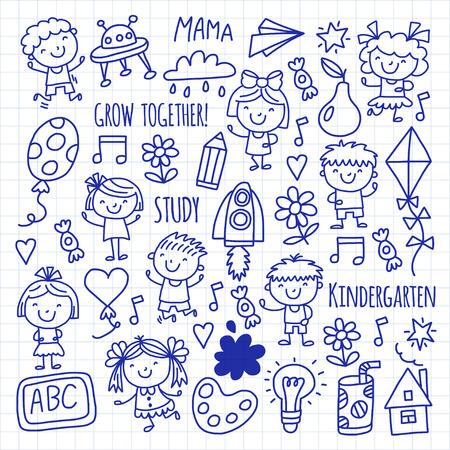 Niños Dibujando La Escuela De Jardín De Infantes Niños Felices ...