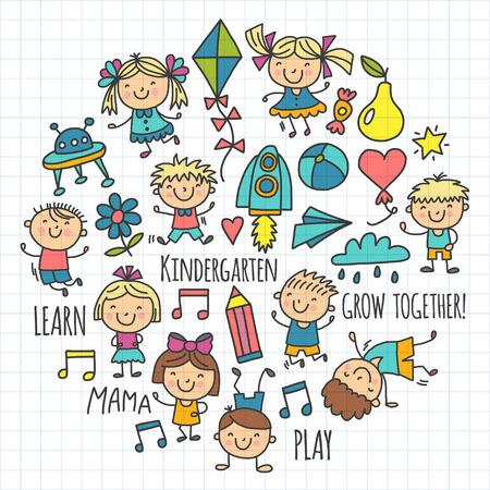 Kids drawing Kindergarten School. Happy children play Illustration for kids Nursery Preschool