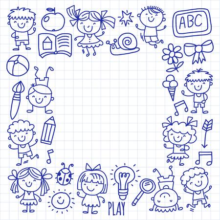 Niños Dibujando. Jardín De Infancia. Felices Los Niños Juegan ...