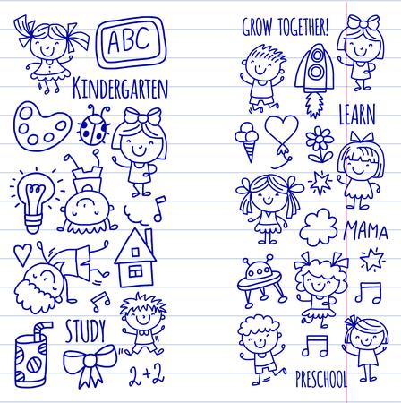 Niños Dibujando La Escuela De Kindergarten Niños Felices Juegan La ...