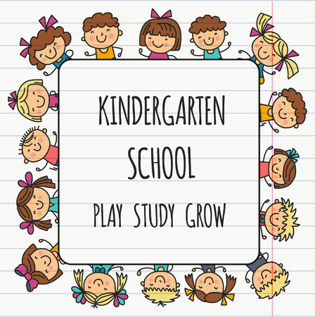 Frame with kids School, kindergarten. Happy children. Creativity, imagination doodle icons with kids. Play, study, grow Happy students Science and research Adventure Explore Ilustracja
