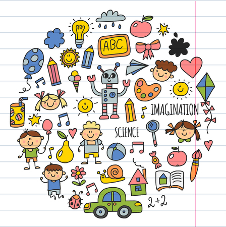 学校、幼稚園。幸せな子供たち創造性、想像力の子供との落書きアイコン。遊ぶ、勉強、成長して幸せな学生科学と研究の冒険を探る