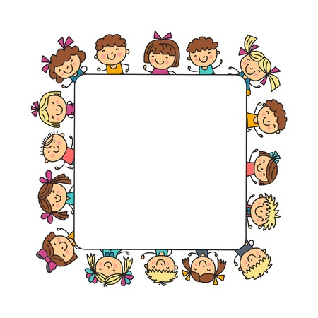Frame with kids School, kindergarten. Happy children. Creativity, imagination doodle icons with kids. Play, study, grow Happy students Science and research Adventure Explore Ilustração
