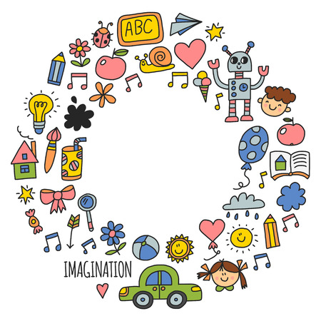 School, kindergarten. Happy children. Creativity, imagination doodle icons with kids. Play, study, grow Happy students Science and research Adventure Explore