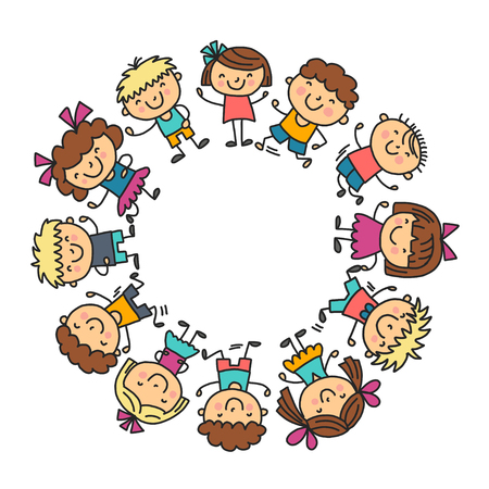 Frame with kids School, kindergarten. Happy children. Creativity, imagination doodle icons with kids. Play, study, grow Happy students Science and research Adventure Explore Stock Photo