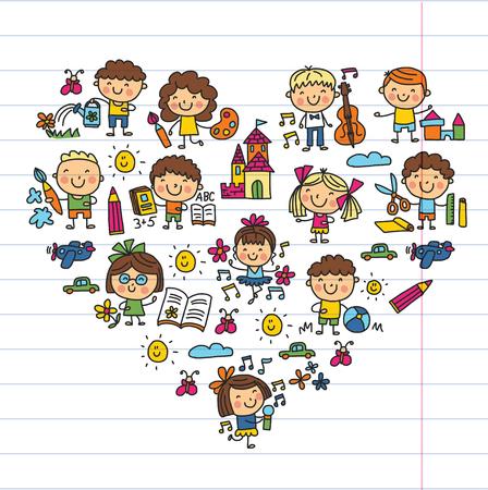Étude d'éducation scolaire de maternelle Les enfants jouent et développent des icônes de dessin d'enfants Vecteurs