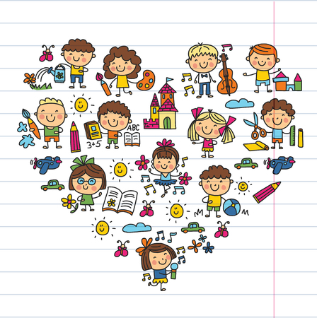 유치원 학교 교육 연구 어린이 놀이 및 성장 아이들을 그리기 아이콘