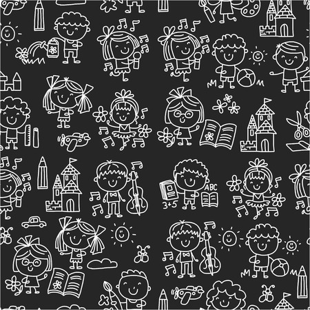 Kindergarten School Education Study Children Play and grow Kids drawing icons Stock Vector - 89287200