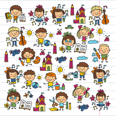 Kindergarten School Education Study Children Play and grow Kids drawing icons