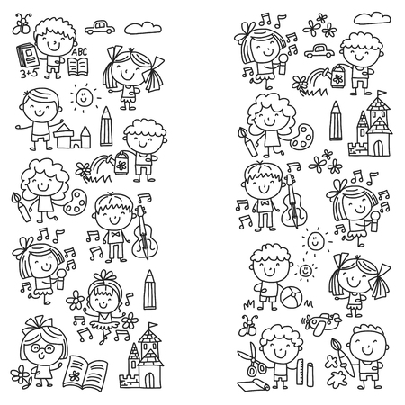 Kindergarten School Education Study Children Play and grow Kids drawing icon Illustration