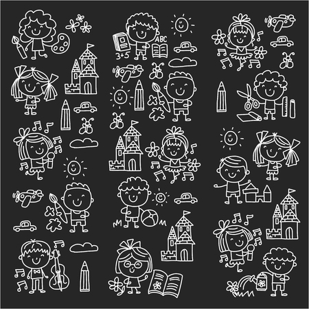 Children play and drawing icons on black background, vector illustration.