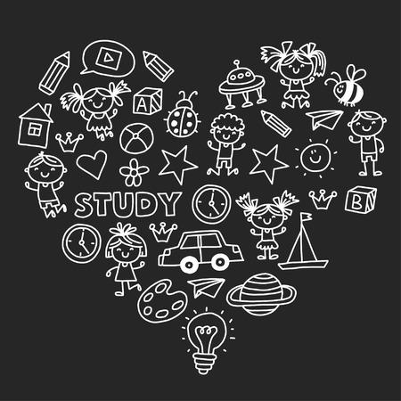 Kleuterschool Kleuterschool Kleuterschool Schoolonderwijs met kinderen Doodle patroon Speel en studeer Jongens en meisjes. Stockfoto - 90101303