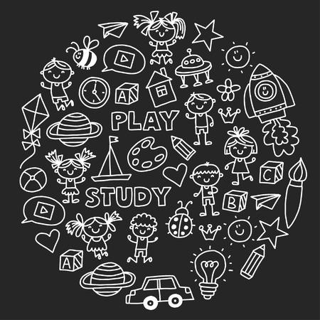 Kleuterschool Kleuteronderwijs Kleuterschoolonderwijs met kinderen Doodlepatroon Speel en studeer Jongens en meisjes. Stockfoto - 90101305