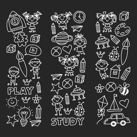 Kleuterschool Kleuterschool Kleuterschool Schoolonderwijs met kinderen Doodle patroon Speel en studeer Jongens en meisjes. Stockfoto - 90101307
