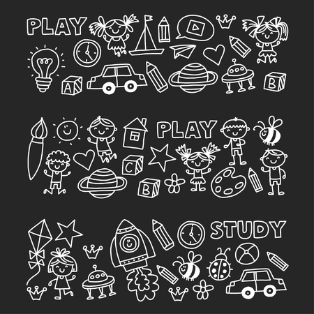 Kindergarten Nursery Preschool School education with children Doodle pattern Play and study Boys and girls kids drawing icons Space, adventure, exploration, imagination concept Blackboard chalk image Stock Illustratie