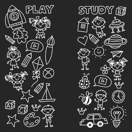 Kleuterschool Kleuterschool Kleuterschool Schoolonderwijs met kinderen Doodle patroon Speel en studeer Jongens en meisjes. Stockfoto - 90101306