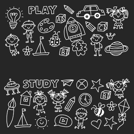Kleuterschool Kleuterschool Kleuterschool Schoolonderwijs met kinderen Doodle patroon Speel en studeer Jongens en meisjes. Stockfoto - 90101310