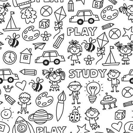 Kindergarten Nursery Preschool School education with children Doodle patroon Kinderen spelen en studeren jongens en meisjes. Stockfoto - 90101311