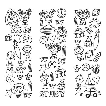 Kleuterschool kleuteronderwijs Preschool Schoolonderwijs met kinderen Doodle patroon Kinderen spelen en studeren Jongens en meisjes kinderen tekenen pictogrammen Ruimte, avontuur, verkenning, verbeelding concept