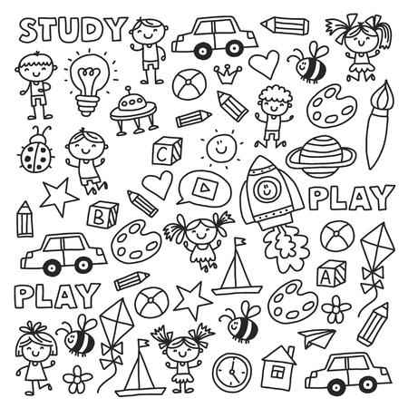 Kindergarten Nursery Preschool School education with children Doodle pattern Kids play and study Boys and girls.