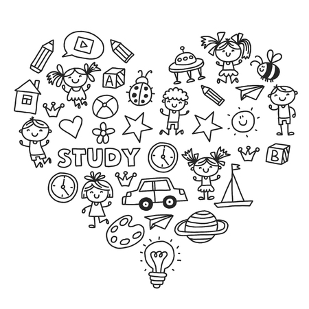 Kleuterschool Kleuterschool Kleuterschool Schoolonderwijs met kinderen Doodle patroon Kinderen spelen en studeren Jongens en meisjes.