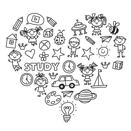 Kleuterschool Kleuterschool Kleuterschool Schoolonderwijs met kinderen Doodle patroon Kinderen spelen en studeren Jongens en meisjes. Stockfoto - 90103239