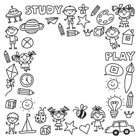 Kleuterschool Kleuterschool Kleuterschool Schoolonderwijs met kinderen Doodle patroon Kinderen spelen en studeren Jongens en meisjes. Stockfoto - 90106258