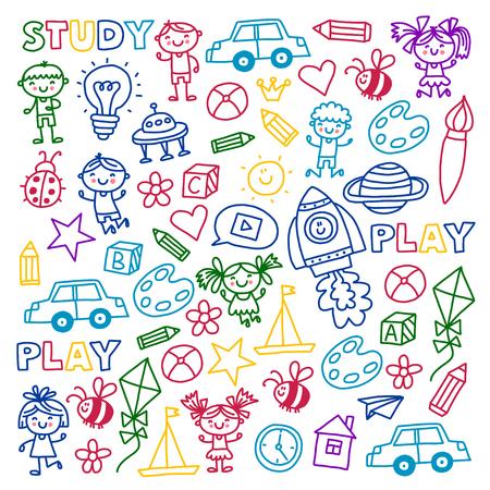 Tijd voor avontuur Verbeelding Creativiteit Kleine kinderen spelen Kinderdagverblijf Kleuterschool Kleuterschool Kinderen. Stockfoto - 90106259