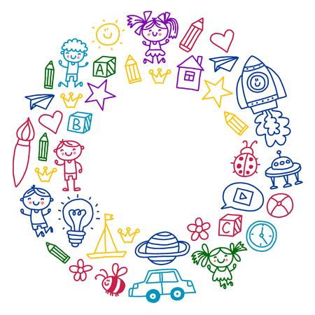 Tijd voor avontuur Verbeelding Creativiteit Kleine kinderen spelen Kinderdagverblijf Kleuterschool Kleuterschool Kinderen. Stockfoto - 90106261