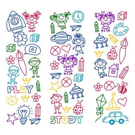 Tijd voor avontuur Verbeelding Creativiteit Kleine kinderen spelen Kinderdagverblijf Kleuterschool Kleuterschool Kinderen. Stockfoto - 90106265