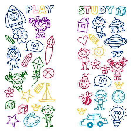 Tijd voor avontuur Verbeelding Creativiteit Kleine kinderen spelen Kinderdagverblijf Kleuterschool Kleuterschool Kinderen tekenen doodle pictogrammen Patroon spelen. Stockfoto - 90020527