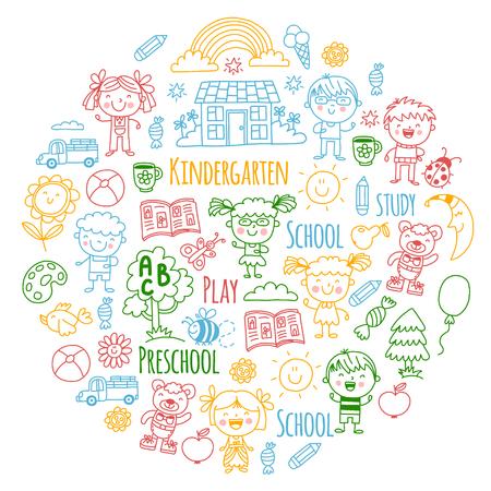 Imaginación. Exploración. Estudiar. Jugar. Aprender. Jardín de infancia. Niños. Niños dibujando. Icono de Doodle. Ilustración. Luna. Casa. Niños y niñas. Preescolar, imagen de la escuela. Patrón de vector Foto de archivo - 90161130