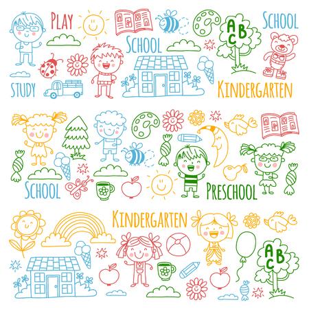 Imaginación. Exploración. Estudiar. Jugar. Aprender. Jardín de infancia. Niños. Niños dibujando. Icono de Doodle. Ilustración. Luna. Casa. Niños y niñas. Preescolar, imagen de la escuela. Patrón de vector Foto de archivo - 90161138