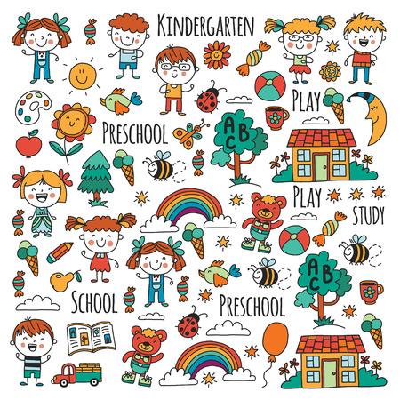 Niños, juguetes y material escolar ilustración vectorial. Foto de archivo - 90166605