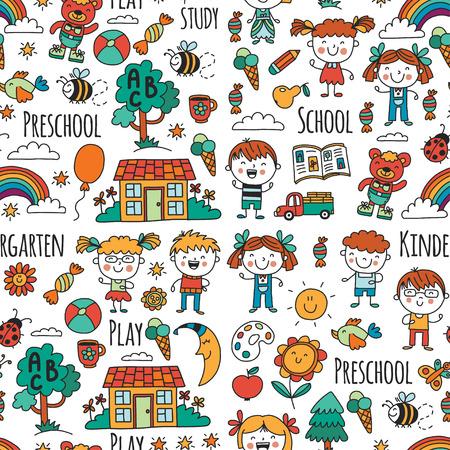 Niños, juguetes y material escolar ilustración vectorial. Foto de archivo - 90166611
