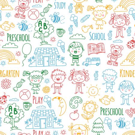 Niños, juguetes y material escolar ilustración vectorial. Foto de archivo - 90166607