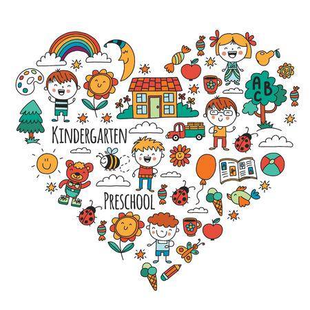 Kinderen, speelgoed en school spullen vector illustratie.