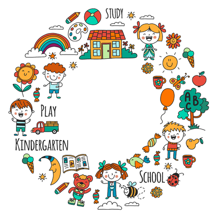 Imagination. Exploration. Study. Play. Learn. Kindergarten. Children. Kids drawing. Doodle icon. Illustration. Moon. House. Boys and girls. Preschool, school picture. Vector pattern Illustration