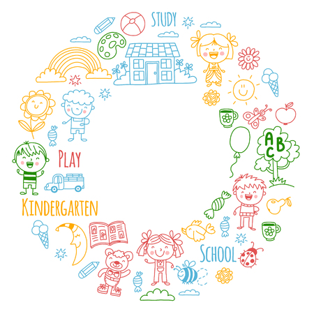Imagination. Exploration. Study. Play. Learn. Kindergarten. Children. Kids drawing. Doodle icon. Illustration. Moon. House. Boys and girls. Preschool, school picture. Vector pattern Foto de archivo - 90165932