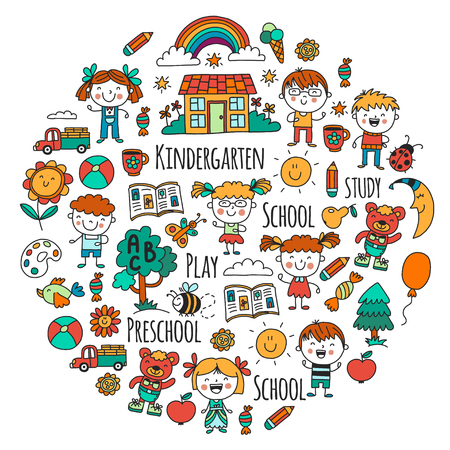 Imagination. Exploration. Study. Play. Learn. Kindergarten. Children. Kids drawing. Doodle icon. Illustration. Moon. House. Boys and girls. Preschool, school picture. Vector pattern Vectores