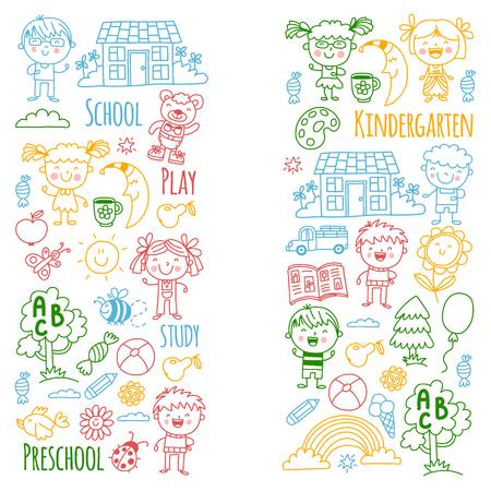 Imaginación. Exploración. Estudiar. Jugar. Aprender. Jardín de infancia. Niños. Niños dibujando. Icono de Doodle. Ilustración. Luna. Casa. Niños y niñas. Preescolar, imagen de la escuela. Patrón de vector Foto de archivo - 90271345