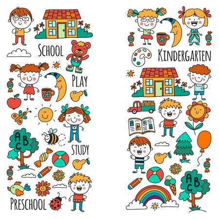 Imaginação. Exploração. Estude. Toque. Aprender. Jardim da infância. Crianças. Crianças de desenho. Ícone de Doodle. Ilustração. Lua. Casa. Meninos e meninas. Pré-escolar, padrão de imagem da escola Foto de archivo - 90667360